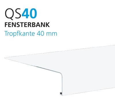 Alu Außenfensterbank QS 40/50 RAL 9016 glänz