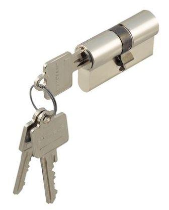 Profil-Doppelzylinder Messing vernickelt 27/40 mm gleichschließend S1, 3 Schlüssel - Detail 1